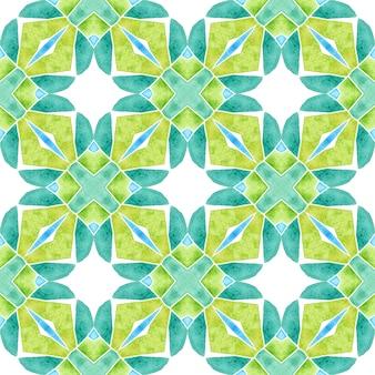 Padrão sem emenda de medalhão. design de verão chique de boho verde e fascinante. fronteira sem emenda do medalhão em aquarela. têxtil pronto para imprimir cativante, tecido de biquíni, papel de parede, embrulho.