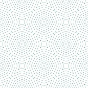 Padrão sem emenda de medalhão. fundo de caleidoscópio simétrico turquesa. impressão pitoresca pronta para têxteis, tecido para biquínis, papel de parede, embrulho. telha sem costura medalhão em aquarela.