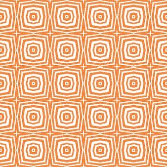 Padrão sem emenda de medalhão. fundo laranja caleidoscópio simétrico. telha sem costura medalhão em aquarela. têxtil pronto para impressão, tecido de biquíni, papel de parede, embrulho.