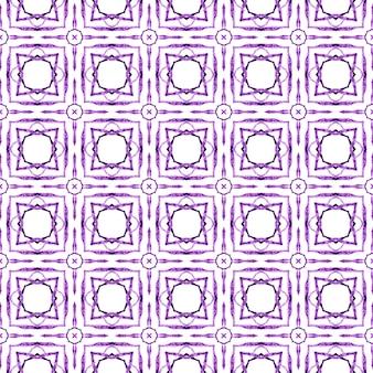 Padrão sem emenda de medalhão. projeto chique do verão boho bizarro roxo. fronteira sem emenda do medalhão em aquarela. têxtil pronto para impressão deslumbrante, tecido de biquíni, papel de parede, embrulho.