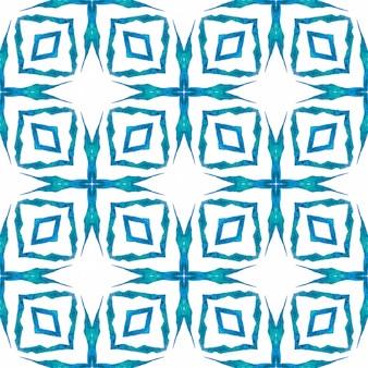 Padrão sem emenda de medalhão. projeto chique do verão do boho energético azul. fronteira sem emenda do medalhão em aquarela. estampado extra pronto para têxteis, tecido biquíni, papel de parede, embrulho.
