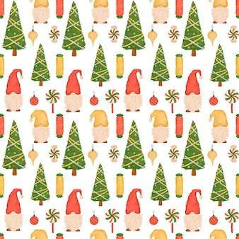 Padrão sem emenda de natal, cartoon cute gnomes, pirulitos, árvore de natal