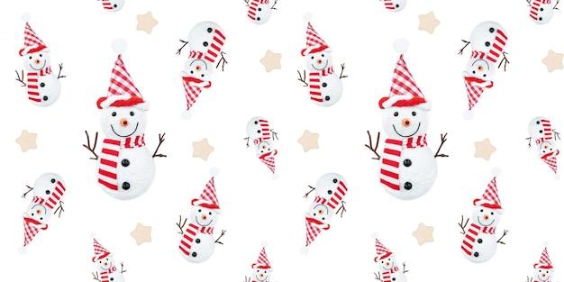 Padrão sem emenda de natal com bonecos de neve e estrelas na superfície branca