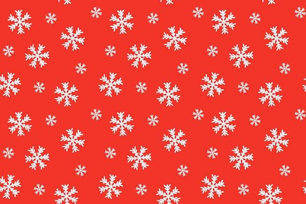 Padrão sem emenda de natal com flocos de neve na superfície vermelha