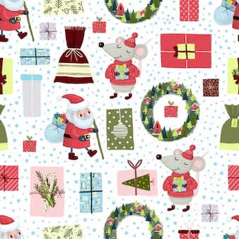 Padrão sem emenda de natal com papai noel, grinalda, rato, neve, caixa de presente em fundo branco