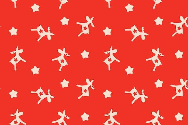 Padrão sem emenda de natal com veados e estrelas na superfície vermelha