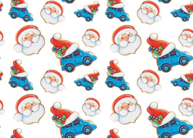 Padrão sem emenda de natal de biscoitos de gengibre em fundo branco. decoração festiva