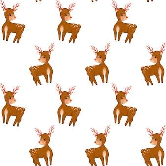Padrão sem emenda de natal, papel digital de desenho de veado da floresta, fundo de animais selvagens, minimalista