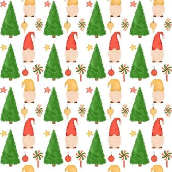 Padrão sem emenda de natal, pequenos gnomos fofos, pirulitos, árvore de natal, desenhos animados