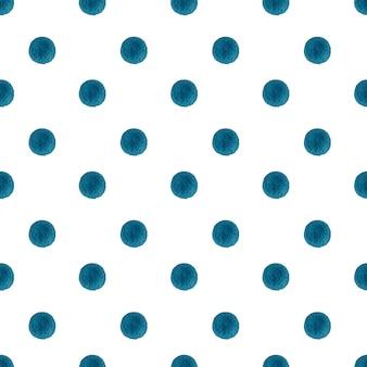 Padrão sem emenda de pontos azuis aquarela polca
