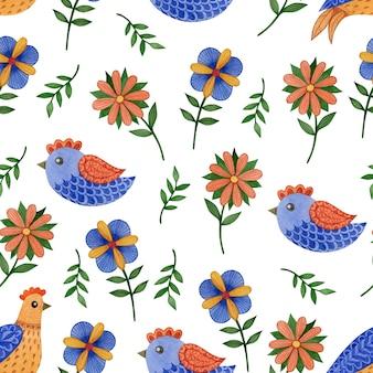 Padrão sem emenda de primavera bonito em pássaros da páscoa de arte popular