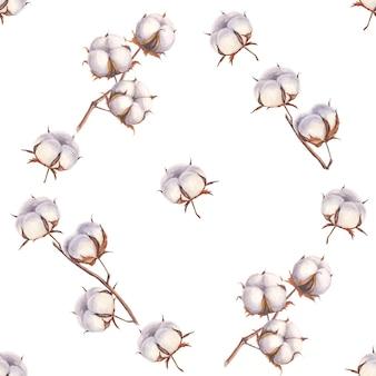 Padrão sem emenda de ramos de algodão em aquarela na superfície branca