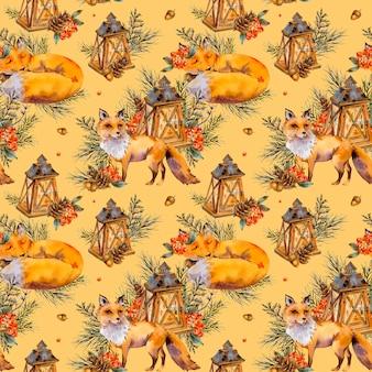 Padrão sem emenda de raposa da floresta em aquarela, fox bonito, lanterna rústica, ramo de abeto, bagas