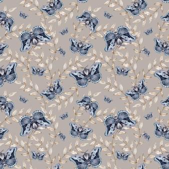 Padrão sem emenda de traças. ilustração de inseto azul. fundo de mariposas em aquarela e folhas bege.