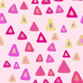 Padrão sem emenda de triângulo aleatório desenhado de mão no fundo branco. cenário de formas caóticas desenhada de mão. cores pastel. ilustração vetorial