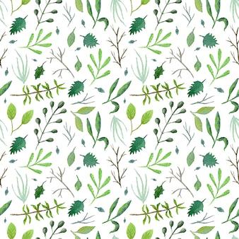 Padrão sem emenda de vegetação fofa com confusão de folhas verdes e galhos em fundo branco