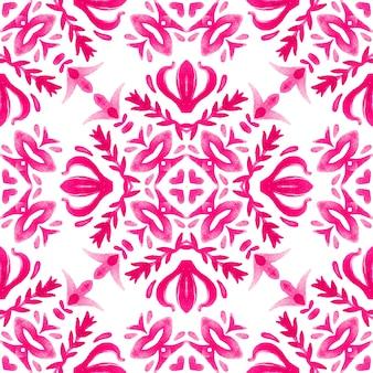 Padrão sem emenda desenhado à mão aquarela ornamento rosa e branco com elementos florais