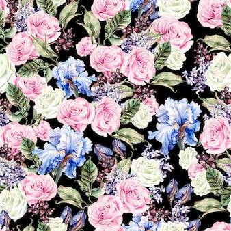 Padrão sem emenda em aquarela brilhante com flores, íris, rosas, bagas de groselha e borboletas