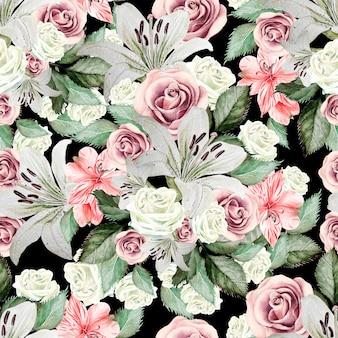 Padrão sem emenda em aquarela brilhante com flores, lírios, rosas, folhas e alstroemeria