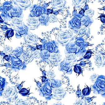 Padrão sem emenda em aquarela brilhante com flores rosas e flores silvestres