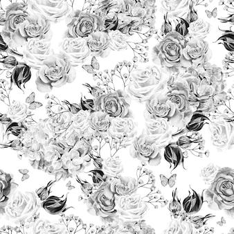 Padrão sem emenda em aquarela brilhante com flores, rosas e hortênsias