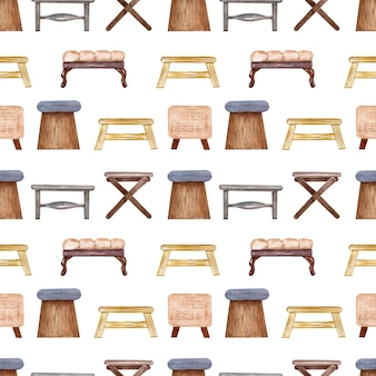Padrão sem emenda em aquarela cadeiras e bancos estofados. elemento interior