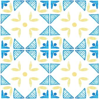 Padrão sem emenda em aquarela de azulejo. azulejos tradicionais portugueses. desenho abstrato. arte em aquarela para têxteis, papel de parede, impressão, design de trajes de banho. padrão de azulejo azul. Foto Premium