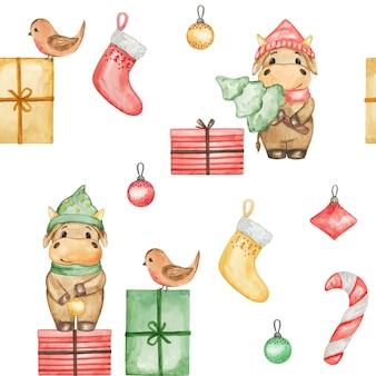 Padrão sem emenda em aquarela de natal 2021, touros em aquarela, presentes, fundo de desenho animado de ano novo
