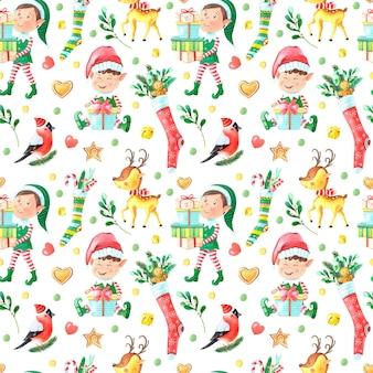 Padrão sem emenda em aquarela de natal com menino elfo