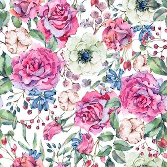 Padrão sem emenda em aquarela de natureza com rosa, anêmona, algodão