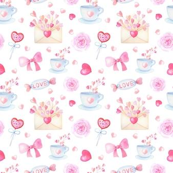 Padrão sem emenda em aquarela romântica com coração rosa em fundo branco