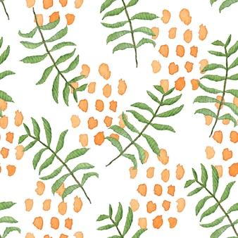 Padrão sem emenda em aquarela sobreposto com uma confusão de folhas verdes e manchas laranja