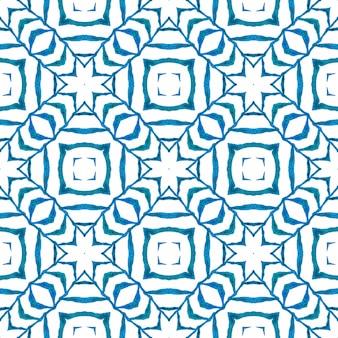 Padrão sem emenda em mosaico. design de verão chique boho azul favorável. têxtil pronto para impressão bonita, tecido de biquíni, papel de parede, embrulho. fronteira sem emenda de mosaico verde desenhada de mão.