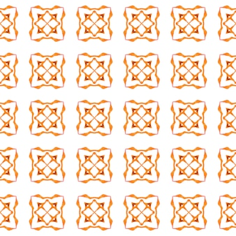 Padrão sem emenda em mosaico. design de verão chique de boho dramático laranja. fronteira sem emenda de mosaico verde desenhada de mão. impressão bizarra pronta para têxteis, tecido de biquínis, papel de parede, embrulho.