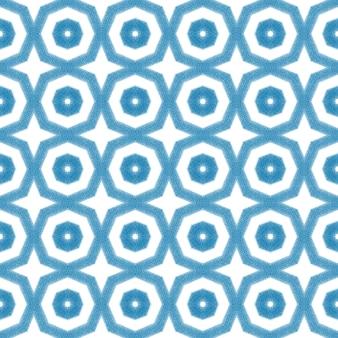 Padrão sem emenda em mosaico. fundo azul do caleidoscópio simétrico. estampa decente em tecido, tecido de biquíni, papel de parede, embrulho. design sem emenda do mosaico retro.
