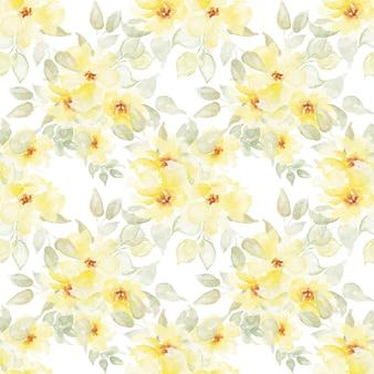 Padrão sem emenda floral com flores amarelas em aquarela