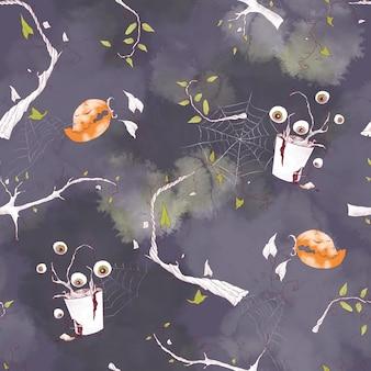 Padrão sem emenda para o feriado de halloween. ilustração em aquarela.