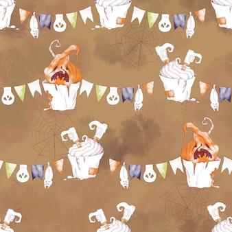 Padrão sem emenda para o feriado de halloween. ilustração em aquarela
