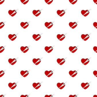 Padrão sem emenda termômetro eletrônico e coração vermelho isolado no fundo branco. cuidados de saúde.