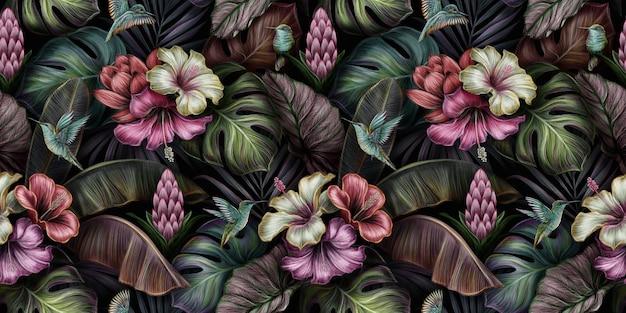 Padrão sem emenda tropical com pássaros, hibiscos, flores protea, monstera, folhas de bananeira, palmeira