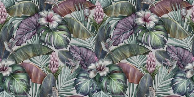 Padrão sem emenda vintage tropical com pássaros, monstera, hibisco, flores protea, folhas de bananeira, palma, colocasia