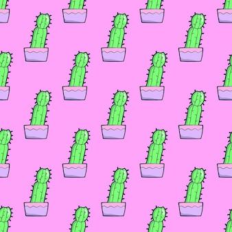 Padrão uniforme. cacto em fundo rosa. use para t-shirt, cartões, papel de embrulho, cartazes, impressão de tecido. ilustração de moda mínima