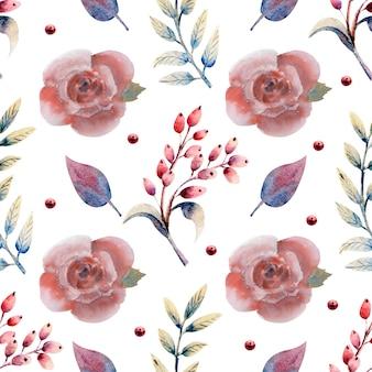 Padrão uniforme. conjunto de ramos de flores. flor rosa rosa, folhas verdes, vermelhas