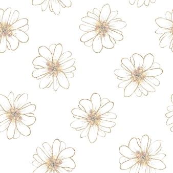 Padrão uniforme. contornos dourados de flores e folhas da primavera.