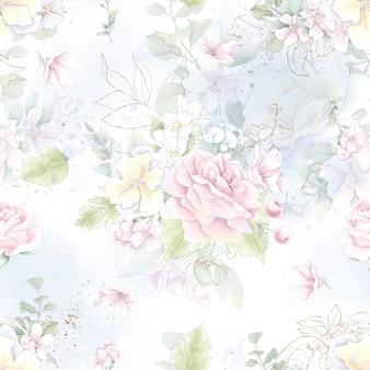 Padrão uniforme. flores rosas delicadas da primavera. impressão digital.