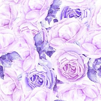 Padrão vintage com ilustração em aquarela floral de rosas violetas