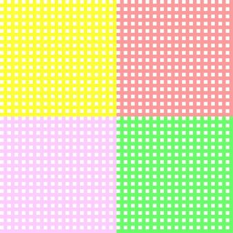 Padrão xadrez em um fundo branco doce padrão sem emenda em tons de rosa vermelho amarelo e verde
