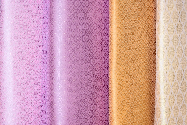 Padrões de cores de tons de sombra padrões de tecidos de seda tailandesa