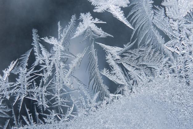 Padrões de geada em vidro de inverno