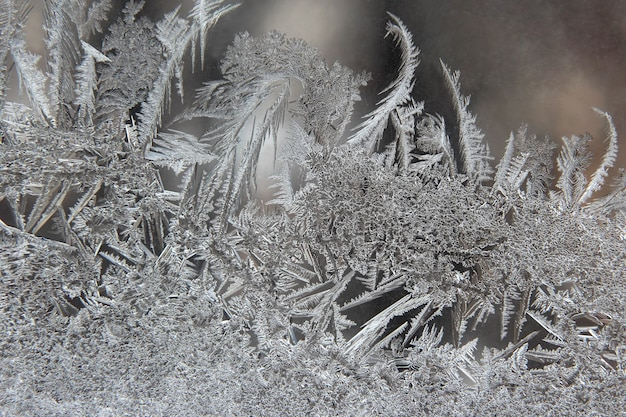 Padrões de gelo de inverno na janela